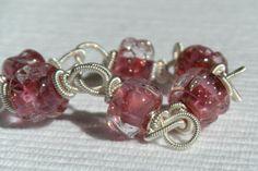 Pink Venetian Twist WireWrapped Bracelet by CloverBlueToo on Etsy,