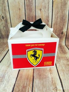 Ferrari Party, Race Car Party, Cars And Coffee, Candy Bags, Party Themes, Party Ideas, Favor Boxes, Event Planning, Party Favors