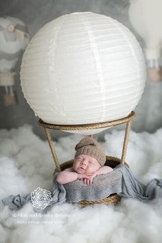 Dallas Newborn Photographers, newborn boy, hot air balloon, gray