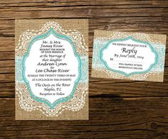 Burlap and Lace Wedding Invitation and by SimplyExtravagantInv, $35.00