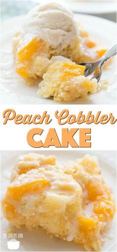cobbler cake Easy Peach Cobbler Cake [] recipe from The Country Cook w/ cake mix idea & peach pie filling .Easy Peach Cobbler Cake [] recipe from The Country Cook w/ cake mix idea & peach pie filling . Dessert Simple, Easy Peach Dessert, Easy Peach Pie, Peach Dessert Recipe, Dessert Healthy, Healthy Cake, Cake Mix Recipes, Dessert Recipes, Dessert Ideas