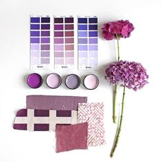 Hydrangeas and purple have both made a comeback. From soft lilacs through to vibrant violet, purple is on the rise. Testpots from left Resene Seance, Resene London Hue, Resene Mamba, Resene Twilight. #Resene #ResenePurples #Resenemoodboard