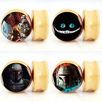 10pair/lot Star Wars  Dark Vader and Boba Fett and cheshire cat Logo Nature Wood Saddle Fit Ear Plugs Flesh Tunnels 6mm-25mm
