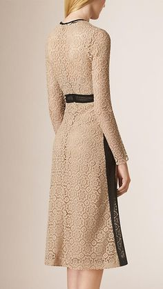 Nude Lace and Mesh Panel Cotton Blend Dress - Image 2