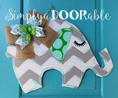 Elephant Wood Door Hanger. Simply aDOORable. Elephant Baby Shower Gift, Hospital Door Announcement, Nursery Door Hanger, Chevron Elephant by SimplyaDOORableNC on Etsy