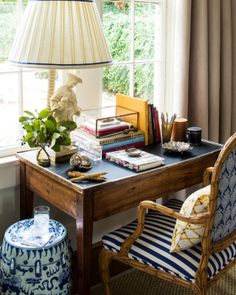 Chinoiserie Work Nook (Chinoiserie Chic) This perfect little work space could be tucked in a living room, family room, guest room .This perfect little work space could be tucked in a living room, family room, guest room . Decoration Hall, House Decorations, Small Workspace, Desk Space, Desk Nook, Desk Chair, Small Space Organization, Desktop Organization, Chinoiserie Chic