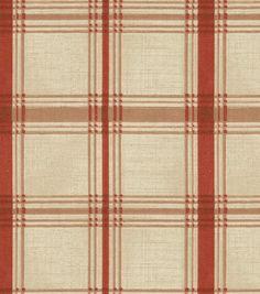 possible fabric for grandmas chairs. Home Decor Print Fabric-Waverly Pantry Plaid Crimson