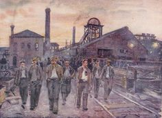 A painting depicting men leaving a UK colliery at the close of a shift.