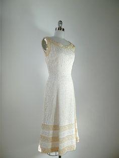 vintage 1950s Wiggle Dress // Larry Aldrich Cream by DeseoVintage, $150.00