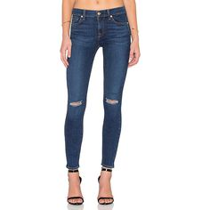 7 For All Mankind Distressed Ankle Skinny Denim ($198) ❤ liked on Polyvore featuring jeans, distressed jeans, faded blue jeans, denim skinny jeans, ripped jeans and destroyed jeans