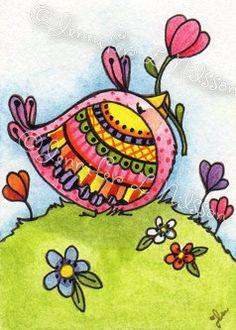 ORIGINAL watercolor ACEO Sweet Spring