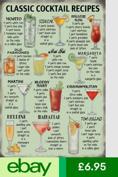 New Classic Cocktail Recipes Favourite Cocktails Metal Tin Sign Liquor Drinks, Cocktail Drinks, Alcoholic Drinks, Vodka Cocktails, Beverages, Famous Cocktails, Classic Cocktails, Mojito, Microondas Panasonic