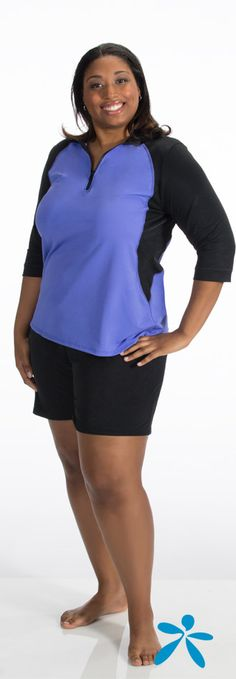 Plus Size Swim Shirt. Wear it over a suit or with one of our supportive swim bras.
