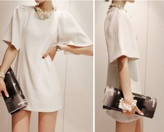 loose sheath dresses | ... White Loose Puff Sleeve Round Neck Sheath Party Dress S M L XL | eBay
