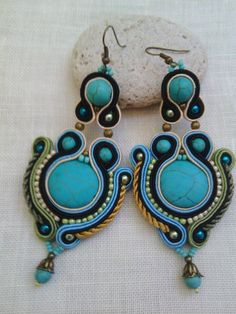 Items similar to soutache big earrings with turquoise beads in black, turquoise and ivory on Etsy Soutache Earrings, Big Earrings, Drop Earrings, Turquoise Beads, Turquoise Bracelet, Jewelry Art, Jewelry Design, Shibori, Jewelery