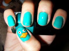 Perry the Platypus nails... Rotten girl would freak out! Really need to do this for her! ...who am I kidding? The Tomahawk would love these as well.