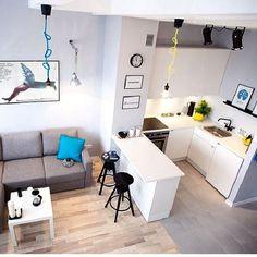 65 the cool stylish small kitchen rooms 2019 38 ⋆ masnewsclub Small Apartment Kitchen, Small Apartment Design, Studio Apartment Decorating, Apartment Layout, Small Apartments, Small Spaces, Small Condo Living, Condo Interior Design, Condo Design