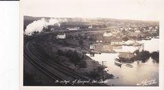 RP: Train on Railroad tracks, ROSSPORT, Ontario, Canada, 1930-40s