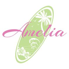 Surf Board Decal - Personalized Vinyl Name Wall Decal With Surfing Ocean Beach Theme For Teen Girls Room Wall Art 30H x 36W GN016