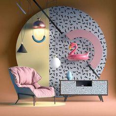 Creative Memphis, Style, Furniture, Nastia, and Ibragimova image ideas & inspiration on Designspiration Memphis Design, Design Set, 80s Design, Booth Design, Wall Design, Conception Memphis, Interior Architecture, Interior And Exterior, Store Concept