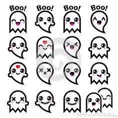 Kawaii cute ghost for Halloween icons set — Stock Illustration Kawaii Halloween, Halloween Doodle, Halloween Icons, Easy Halloween Drawings, Halloween Halloween, Holidays Halloween, Doodles Kawaii, Cute Doodles, Cute Doodle Art
