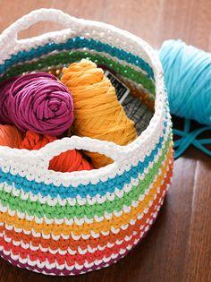 Crochet Pattern: Rainbow Storage Basket | My Poppet Makes