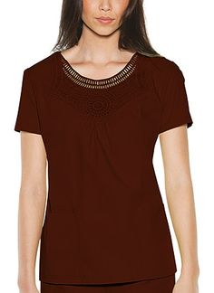 Baby Phat Round Neck Macrame in Brown Round Neck Macrame  Fabric: Brushed Cotton/Poly Poplin $27.99 #scrubs #nurses #doctors #medicaloutlet #babyphat Baby Phat Scrubs, Cool Baby Stuff, Nurses, Doctors, Poplin, Macrame, V Neck, Brown, Fabric