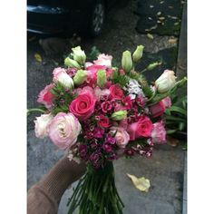 ; pink flower bouquet with roses, eustoma and some sweet william!