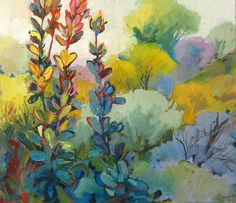 Working mainly in oisl or pastels, Jenny Parsons creates colorful landscapes and florals inspired by her Cape Town home. Abstract Landscape, Landscape Paintings, Flower Paintings, Painting Abstract, Oil Paintings, Watercolor Paintings, South African Art, Artist Sketchbook, Pastel Art