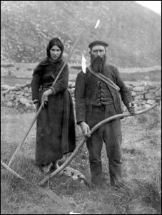 St Kilda - Way of Life - Finlay McQueen and his daughter working in the fields in 1910