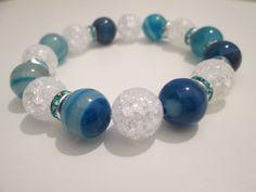 Pulsera de Agata azul y Cuarzo cristal de roca-cracle de Lenajoyas en Etsy