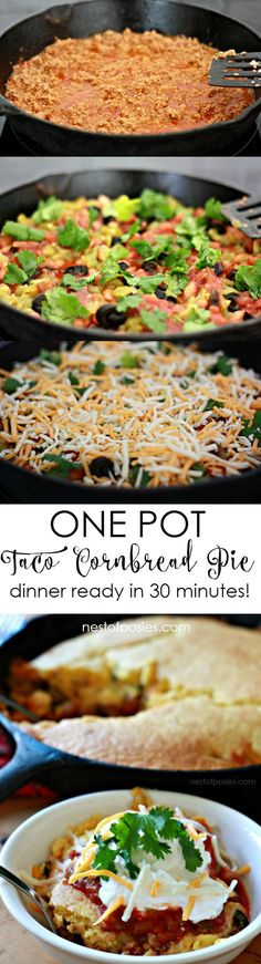 One Pot Taco Cornbread Pie.  Dinner ready in 30 minutes from prep to the table!