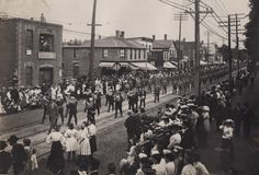 Today's photo is the Labour Day Parade from 1905. It was taken on Queen St. West, looking east from a point just west of Givins St. It was originally a silver gelatin print. Happy Labour day, everyone!
