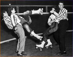 In honor of my sister, Ana Bender, who raced with Windy City Rollers (Chicago) and now is a Derby Ref!  1950's Roller Derby Scene Refs sorting out the raucous roller girls of the 1950's. Roller derby scene. Photo circa 1950 courtesy of A&E; TV: real life drama.