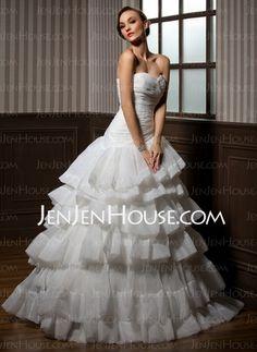Wedding Dresses - $188.19 - A-Line/Princess Sweetheart Floor-Length Organza Satin Wedding Dresses With Ruffle (002012704) http://jenjenhouse.com/A-line-Princess-Sweetheart-Floor-length-Organza-Satin-Wedding-Dresses-With-Ruffle-002012704-g12704