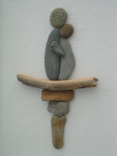 Pebble Art: Pebbles and driftwood on canvas