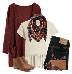 Fall cardigan, cream peplum & plaid scarf by steffiestaffie on Polyvore featuring The Great, Hollister Co., G.H. Bass & Co., MICHAEL Michael Kors, Lord & Taylor, Collection XIIX, Garrett Leight and OPI