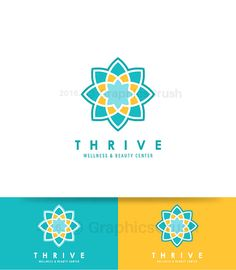 OOAK Yoga Logo Wellness Logo Design Yoga Logo Design Pilates Logo Lotus Flower Logo Lotus Mosaic Flower Logo