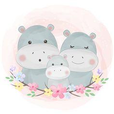 Cute Animal Illustration, Family Illustration, Portrait Illustration, Graphic Illustration, Baby Animal Drawings, Cute Drawings, Drawing Faces, Cartoon Kids, Cute Cartoon