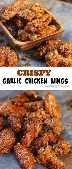 Sticky Crispy Garlic Chicken Wings are better than takeout. So sweet and crunchy. Turkey Recipes, Chicken Recipes, Garlic Recipes, Garlic Fried Chicken, Frango Chicken, Cooking Chicken Wings, Sticky Chicken Wings, Crispy Chicken Wings, Sticky Wings Recipe