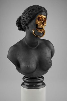 """The God Of The Grove"" brass and marble sculpture by Hedi Xandt Gold Skull, Skull Art, Skulls, Vanitas, Art Sculpture, Sculptures, Modern Art, Contemporary Art, Instalation Art"