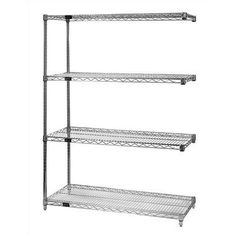 "Small 63"" Q-Stor Chrome Wire Shelving Add-On Unit Dimensions: 18"" x 36"" x 63"" by Quantum Storage. $117.22. AD63-1836C Dimensions: 18"" x 36"" x 63"" Features: -National Sanitation Foundation approved.-Available for all dimensions of wire shelving. Includes: -Includes 2 posts, 4 shelves and 8 S-hooks. Construction: -KD Construction (Class 70). Color/Finish: -Durable hard chrome finish."