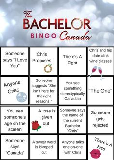OMG! Can you believe The Bachelor Canada finale is right around the corner? This season has been filled with drama, laughter, and of course some crying. Print these The Bachelor Canada Bingo cards out for the perfect viewing party with all of your friends. Bingo Canada, Bachelorette Premiere, Drinking Games, Get Excited, Around The Corner, Fun Drinks, Crying, Laughter, Believe
