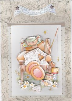 Forever Friends 'Happy Father's Day' card featuring relaxing teddy with fishing gear and soup  flask