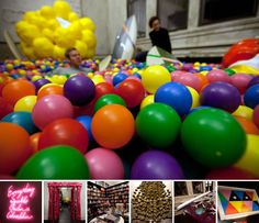 The offices of Chandelier Creative include a ball pit. Nice!