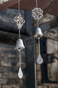 "Single Bell Wind Chime. Vintage cast iron zen wind chime with single bell. Dimension: 23.25"" L Final Sale"