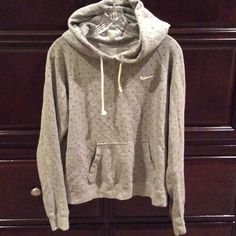 Gray PolkaDot Nike Sweater ✔️ Have worn before! In very good condition! There are signs of wear at the very tips of sleeve but hardly noticeable! Fits like a Medium!(: 80% Cotton 20% Polyester Nike Jackets & Coats