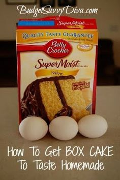 How to Get Box Cake to Taste Homemade! Read your instructions and add one more egg (I use two). For the next step you use melted butter instead of oil and twice as much. Ditch the water and use milk! Finally mix and bake, it really is a huge difference that you'll be able to tell by the first bite.
