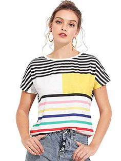 Focal20 Streetwear Hit Color Women Blouse Shirt Stiching Color Summer Short Sleeve Hip Hop Oversize Female Blouse Top To Help Digest Greasy Food Blouses & Shirts