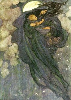This image reminds me of Frau Holle for her role as keeper of souls who pass away in infancy, her status as fertility goddess, and that she flies through the air with the Wild Hunt at night during the Winter Solstice. By Florence Emma Harrison.